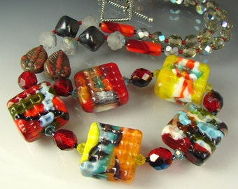 Lampwork Glass  Beads RED AQUARELLES Tiles In Paradise. Handmade Art, Beaded Jewelry. Necklace, pendant. OPENSTUDIO.