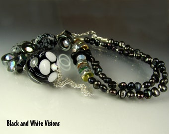 CLEARANCE Glass Lampwork Beads, Handmade Beaded Necklace. Jewelry Art. Pendant. BLACK And White Visions. OPENSTUDIO. Openstudiobeads.