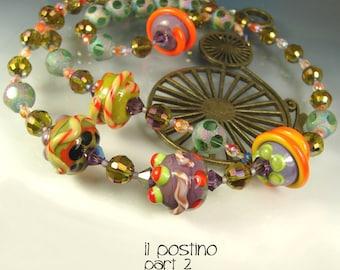 SALE. Glass Lampwork Beads, Beaded Long Necklace. Handmade Jewelry Art. Il POSTINO part 2. OPENSTUDIO.