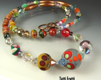 Super CLEARANCE. Glass Beaded Necklace. Handmade Lampwork beads. TUTTI FRUTTI by Openstudio. Jewelry Art. Pendant.