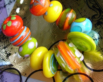 Glass Handmade Lampwork Beads & Beaded Jewelry Art. FRUITS. Set of 13 big loose beads, GIANT focal. For Bracelets, Necklaces. OPENSTUDIO.