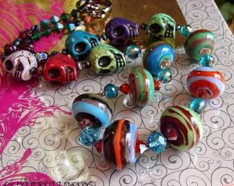 Glass lampwork beads. Handmade beaded Necklace. EX BOYFRIEND RUEDAS by Openstudio. Pendant, Jewelry Art.