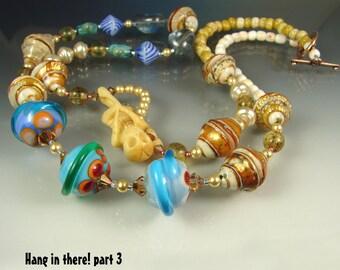CLEARANCE. Glass Handmade Lampwork Beads, Beaded long Necklace, Jewelry Art. Pendant HANG In THERE Part 3. Openstudio. Openstudiobeads.
