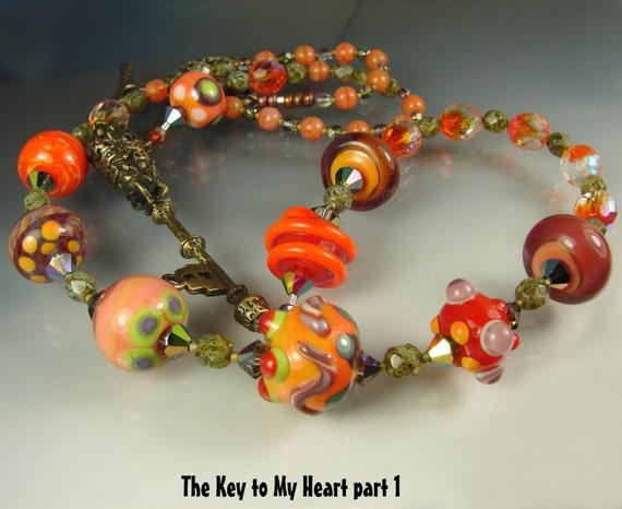 SALE. Glass Lampwork Beads. Long Beaded Necklace. Handmade Jewelry Art. THE KEY To My Heart part 1. Pendant. Openstudio. Openstudiobeads.