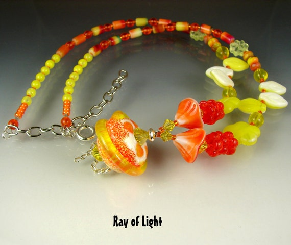 Clearance. Glass Handmade Lampwork Beads, Handmade Beaded Necklace. Jewelry Art. Pendant RAY Of LIGHT. OPENSTUDIO. Openstudiobeads.
