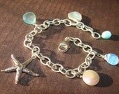 Charm Bracelet, Starfish, Sterling Silver, Aqua Chalcedony, Pearl, Gemstones, Wire Wrapped Adjustable, Hamptonjewels