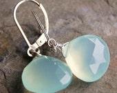 Earrings, Aqua Mint Chalcedony, Glowing 13mm Gemstone Briolettes Wire Wrapped, Sterling Silver Leverbacks Lever Backs