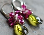Magenta, Olive Green Earrings, Swarovski Crystal Sterling Silver, Cluster, Wire Wrapped, Fuchsia Baroque, Leverback