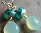 Aqua Sea Green Chalcedony, 14K Gold Fill Earrings, Czech Glass Rondelles, Wire Wrapped, Handmade