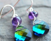 Peacock Amethyst Earrings, Teal Green Blue Swarovski Crystal, Purple Quartz Gemstone, Sterling Silver Wire Wrapped