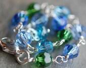 Aqua Blue, Green Swarovski Crystal Bracelet, Sterling Silver, Lobster Clasp, Adjustable, Bridesmaids