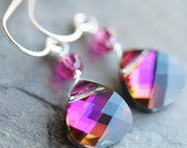 Pink Orange Purple Bridesmaid Earrings, Swarovski Crystal, Sterling Silver Wire Wrapped, Tropical Sunset