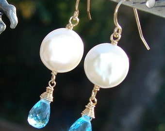 Swiss Blue Topaz and Coin Pearl Earrings, 14K Gold Filled, Wire Wrapped French Wires, Moondrops