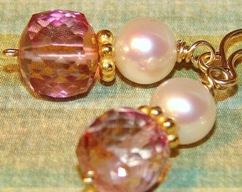 Pink Quartz and Pearl Gemstone Earrings, Wire Wrapped on 14K Gold Filled Ear Wires, Petite Rose Petal