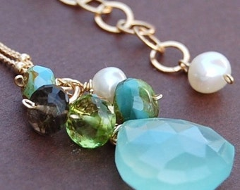 Inspire Pendant of Aqua Chalcedony, Apple Green Peridot, Pearl, Smoky Quartz on 14K Gold Filled