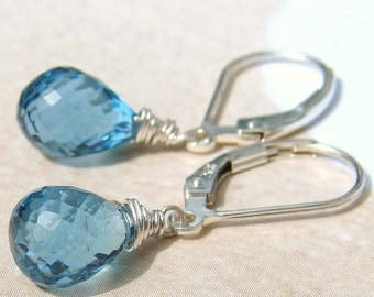 Happily Ever After London Blue Topaz Briolette Earrings on Sterling Leverbacks