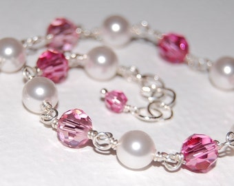 Petite Bella Bracelet, Pink Swarovski Crystals and Glass Pearls, Design Your Own, A Lovely Gift for Bridesmaids