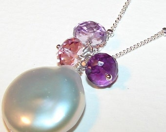Pearl Necklace, Sterling Silver, Amethyst, Pink Quartz, Freeform Coin Pearl, Moonglow hamptonjewels