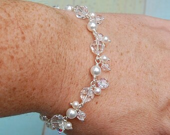Bella Bracelet EMBELLISHED, Clear Crystals, Lovely for Brides and Bridesmaids, Design Your Own