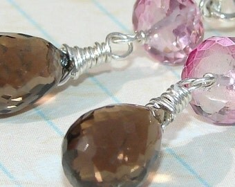 Pink and Brown Earrings, Quartz Gemstones Sterling Silver Ear Wires, Dangle, Bridesmaids, Weddings, Chocolate Dipped Strawberries