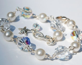Bella Bracelet, Clear and Clear AB Swarovski Crystals and Glass Pearls, Sterling Silver, Design Your Own