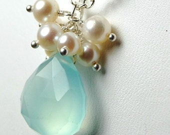 Aqua Chalcedony Necklace, Freshwater Pearl Cluster on Sterling Silver Chain, Wire Wrapped, Seven Bubbles