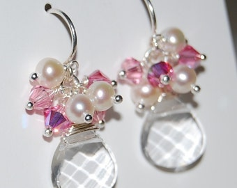 Lauren Earrings, Swarovski Crystals and Freshwater Pearls on Sterling Silver, Choose Your Colors, Lovely for Weddings