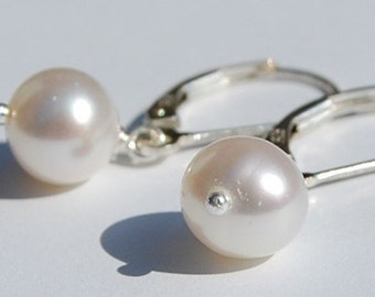 Pearl Earrings, Sterling Silver Leverback, Freshwater, White, 8mm, Weddings, Bridal, Bridesmaids