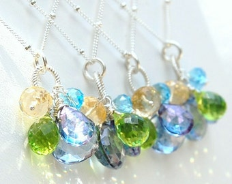 CUSTOM WEDDING DESIGN, Gemstone Trinket Pendants in Yellow, Green and Blue for Bridesmaids, Special Occasion