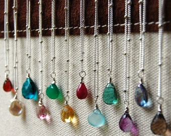 GEMDROP Collection, Choose Your Color Gemstone on Sterling Silver, Lobster Clasp