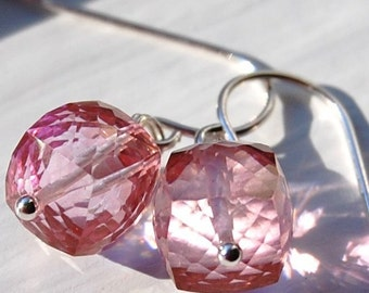 Pink Quartz Earrings Sterling Silver, Gemstone Cubes, Faceted Sparkly, Wire Wrapped French Ear Wires, Sweet Treats