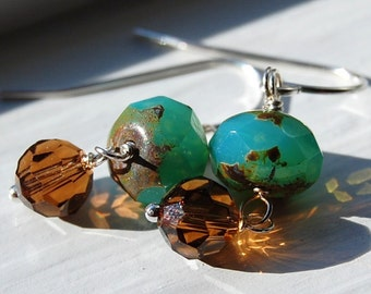 Brown and Green Artisan Glass Earrings Wire Wrapped on Sterling Silver French Ear Wires, Czech and Swarovski