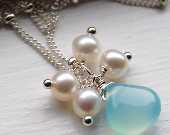 Chalcedony Dream, GEMDROP Collection, Choose Your Color Gemstone WITH PEARLS on Sterling Silver