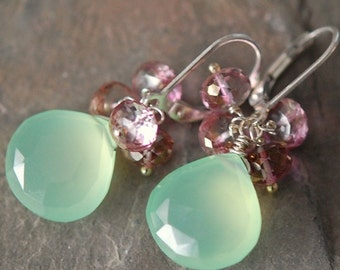 Chalcedony Earrings, Sea Green, Pink Quartz Sterling Silver Leverbacks, Collette Earrings, Wire Wrapped Gemstones, Softly Glowing