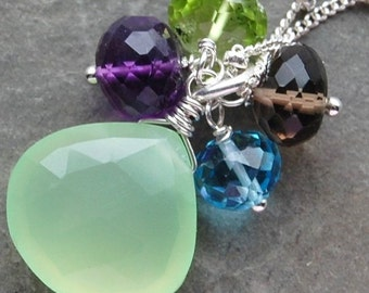 Chalcedony Necklace, Sterling Silver, Aqua Green Seamist, Gemstone Quartet Wire Wrapped hamptonjewels