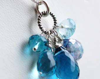 Cluster Necklace, Blue Topaz, Quartz, Sterling Silver, Wire Wrapped, St. Thomas Honeymoon Something Blue