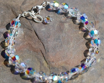 Clear Crystal Bracelet, Sterling Silver Lobster Clasp, Adjustable, 8mm Swarovski AB Crystals, Bridal, Weddings, Bridesmaids