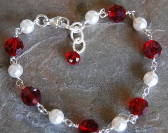 Bracelet, Red Swarovski Crystal and White Pearls, Wire Wrapped, Lobster Clasp, Adjustable, Siam Glass, Design Your Own, hamptonjewels