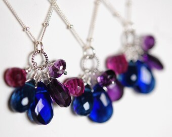 Bridesmaids Necklaces, Sapphire Quartz, Amethyst, Fuchsia, Sterling Silver, Gemstone Trinket Collection, SAMPLE Listing