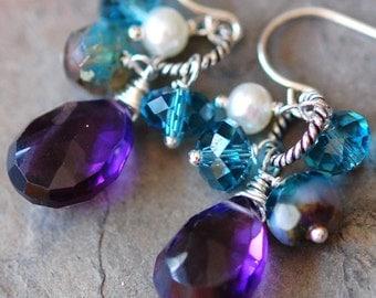 Purple Amethyst Earrings, Peacock, Teal Blue Green, Swarovski Crystals, Gemstones, Pearl on Sterling Silver French Ear Wires