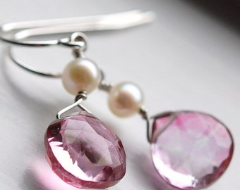 Pink Quartz and Pearl Earrings, Wire Wrapped on Sterling Silver French Ear Wire Hooks, Soft Whisper
