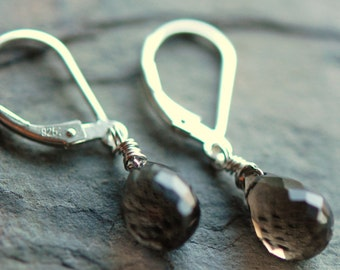 Smoky Quartz Dark Brown Gemstone Earrings, Hot Chocolate Sterling Silver Wire Wrapped, Leverbacks