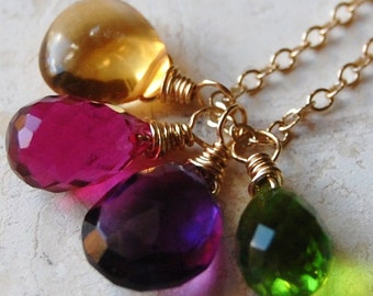 Jewel Tone Cluster Necklace, Citrine, Amethyst, Peridot, Ruby Quartz on 14K Gold Fill, Wire Wrap Gemstone Briolettes