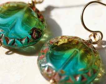 READY TO SHIP, Aqua Turquoise Blue Green Glass Earrings 14K Gold Fill Wires, Disc Coins, Wire Wrapped