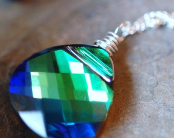 Peacock Necklace, Swarovski Crystal, Blue Green, Sterling Silver Wire Wrapped Briolette, Aqua Sphinx, Bridesmaid