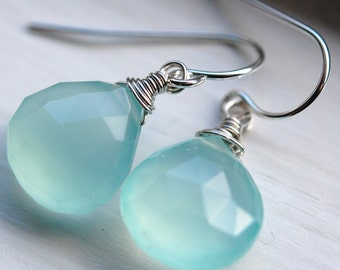 READY TO SHIP Aqua Chalcedony Gemstone Earrings, Sterling Silver French Ear Wires, Wrapped