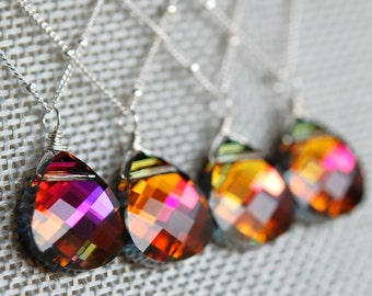 Set of 4 Orange Pink Bridesmaid Necklaces, Volcano Swarovski Crystal Briolette, Sterling Silver, Tropical Sunset