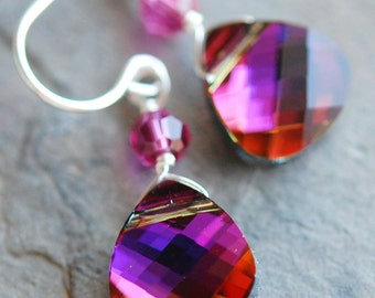 Volcano Earrings, 6 Pairs, Pink Orange Purple Swarovski Crystal Briolette, Fuchsia, Sterling Silver Wire Wrapped, Bridesmaids
