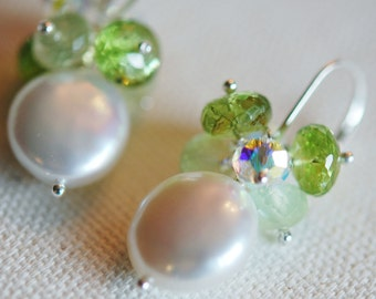 Coin Pearl, Prehnite, Peridot Gemstone Cluster Earrings, Sterling Silver Leverbacks, Wire Wrapped