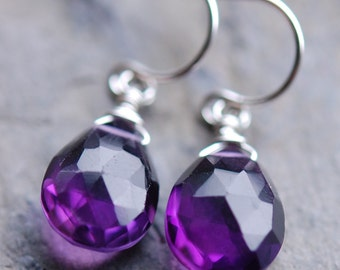 Purple Amethyst Gemstone Briolette Earrings, Wire Wrapped Sterling Silver, Grape, Plum Solitaire, February Birthstone